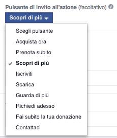 facebook inserzione carosello - pulsante invito all'azione