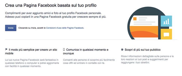 convertire profilo pagina - primo step