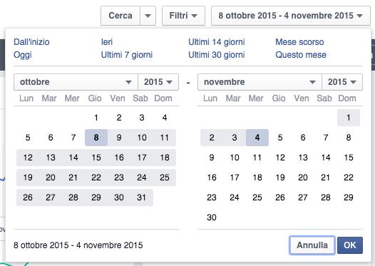 Report e risultati facebook ads - calendario date inizio e fine