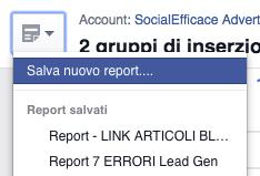 Report e risultati facebook ads - come salvare report