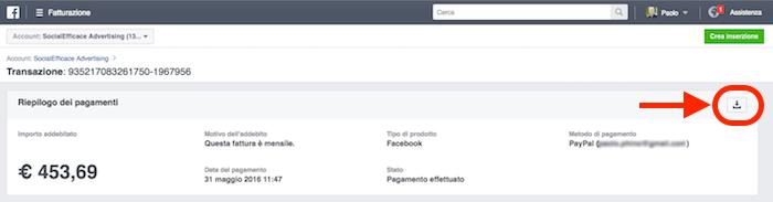 scaricare costo fattura facebook ads - riepilogo costi