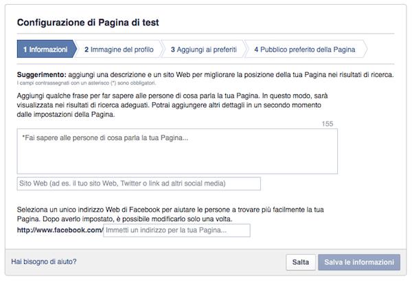 come creare pagina facebook - configurazione impostazioni