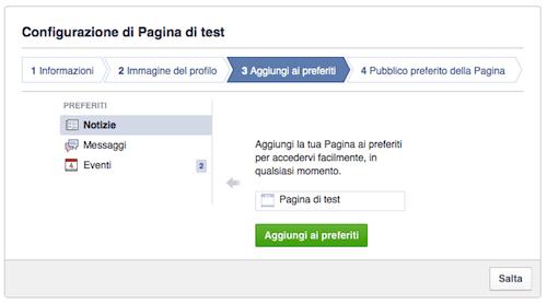 come creare pagina facebook - configurazione preferiti