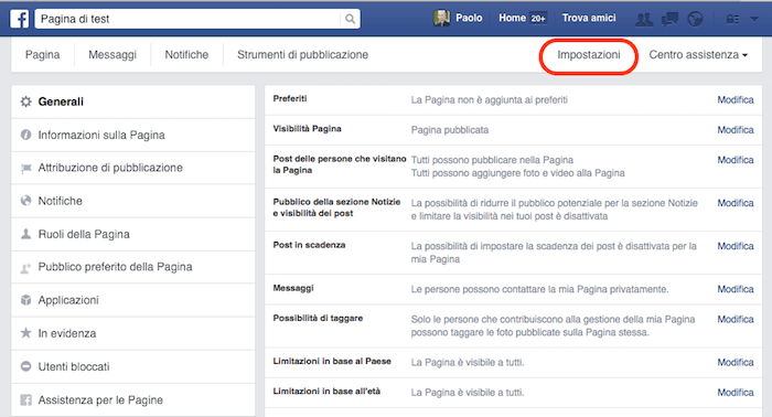 come creare pagina facebook - impostazioni