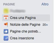 come creare pagina facebook - menu crea pagina