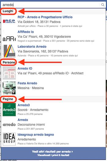 come creare pagina facebook - ricerca