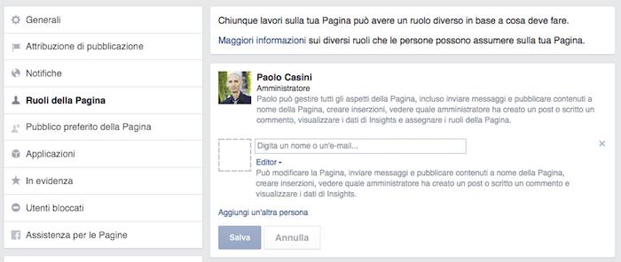 come creare pagina facebook - ruoli pagina amministratori