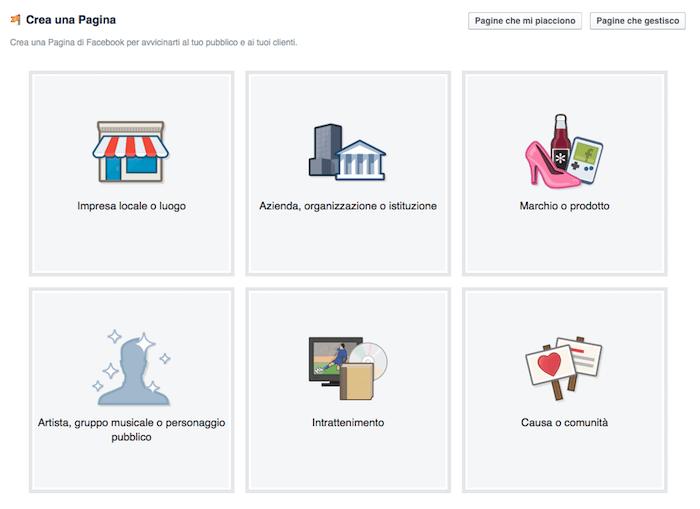 come creare pagina facebook - scelta categoria