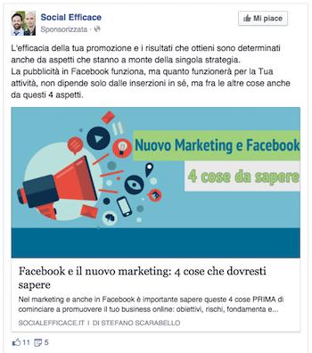come fare pubblicita su facebook - esempio post facebook ads coltivazione