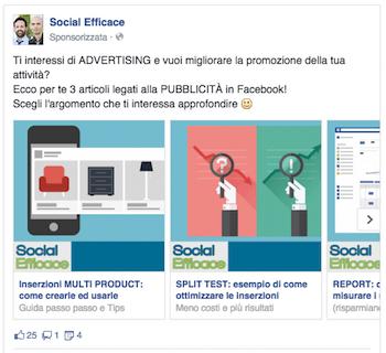 come fare pubblicita su facebook - esempio post facebook ads contenuti