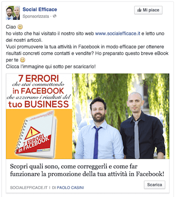 come fare pubblicita su facebook - esempio post facebook ads lead generation
