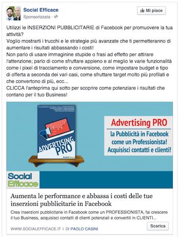 come fare pubblicita su facebook - esempio post facebook ads vendita