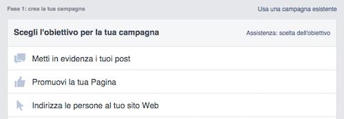 come fare pubblicita su facebook - obiettivi campagne