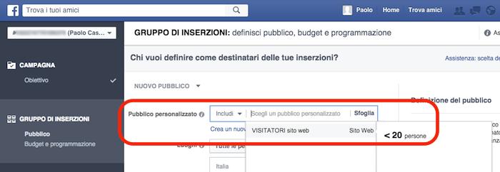 pixel facebook - usare pubblici personalizzati nelle inserzioni