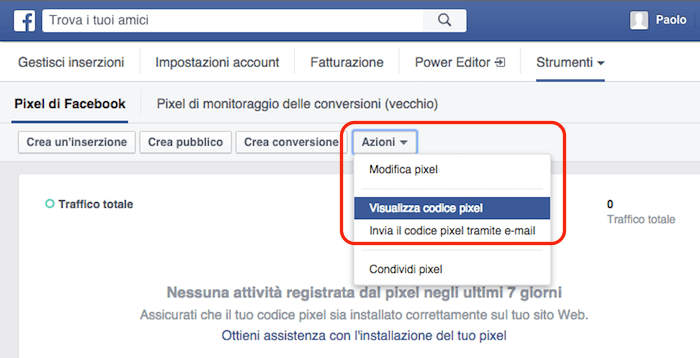 pixel facebook - visualizza pixel