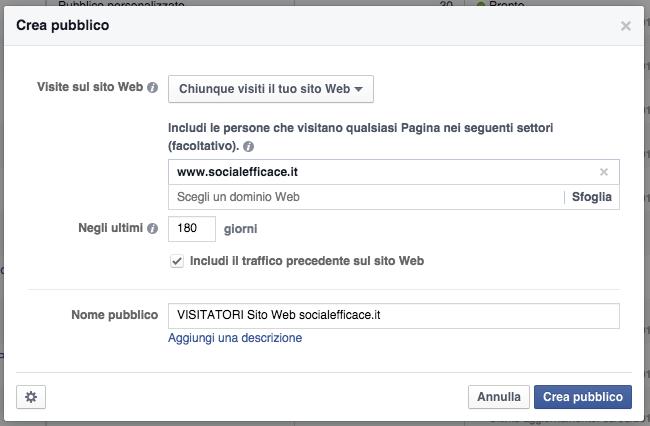 pixel pubblico personalizzato facebook ads - popup configurazione pubblico