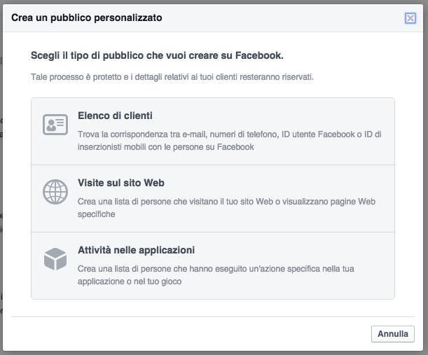 pixel pubblico personalizzato facebook ads - popup creazione pubblico