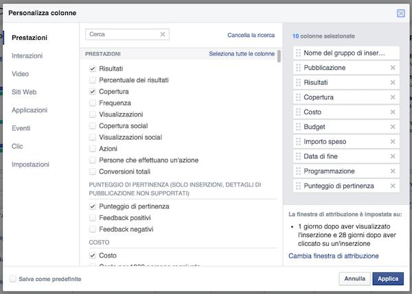 Pubblicita FB report statistiche - dati per personalizzare colonne