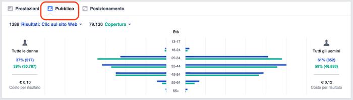 Pubblicita FB report statistiche - grafico performance pubblico
