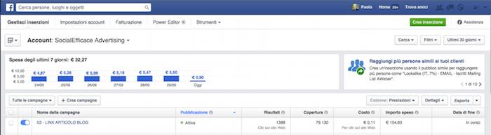 Pubblicita FB report statistiche - home gestione inserzioni