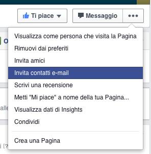 come aumentare mi piace pagina facebook - invitare contatti email