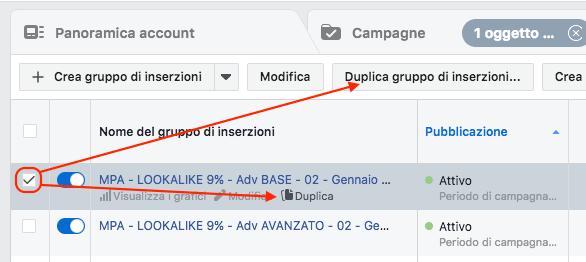 come modificare inserzione facebook - duplica gruppo inserzioni