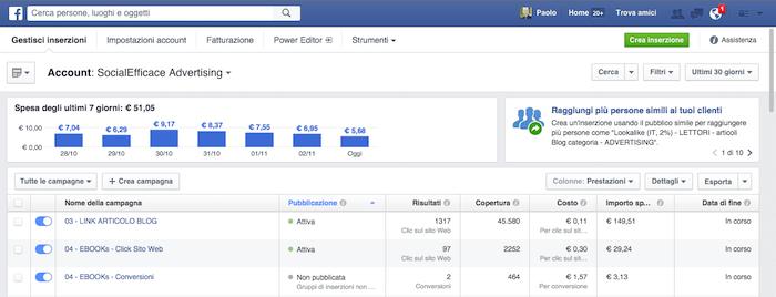 come modificare inserzione facebook - home gestione inserzioni
