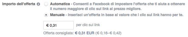 facebook ads ottimizzazione offerta prezzi addebiti - nuova offerta