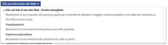 facebook ads ottimizzazione offerta prezzi addebiti - opzioni ottimizzazione click sito web