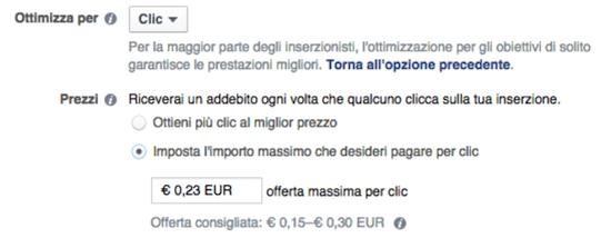 facebook ads ottimizzazione offerta prezzi addebiti - vecchie impostazioni