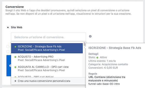 conversioni personalizzate - dove usare le conversioni personalizzate in creazione inserzioni