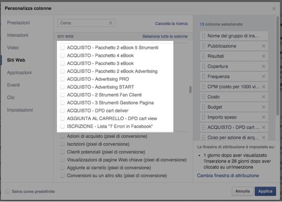 conversioni personalizzate - personalizza colonne gestione inserzioni