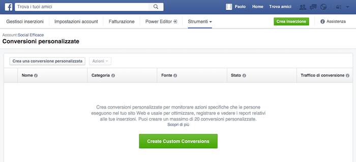 conversioni personalizzate - schermata iniziale