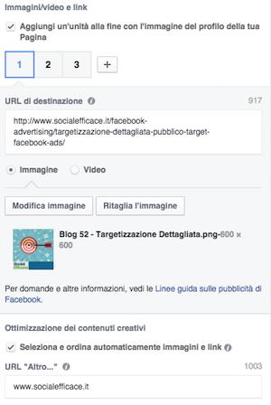 pubblicità instagram - opzioni Carosello