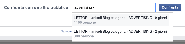 confronto del pubblico - aggiungere target audience overlap