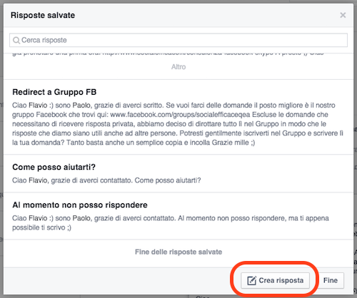 messaggi pagina facebook - crea risposta salvata