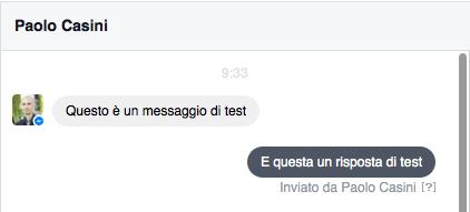 messaggi pagina facebook - esempio chat