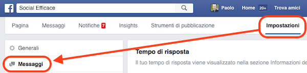 messaggi pagina facebook - impostazioni messaggi