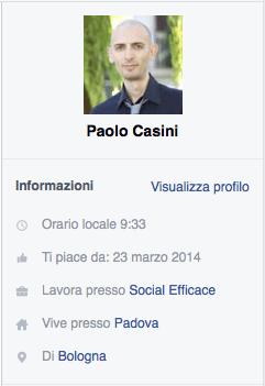messaggi pagina facebook - info profilo