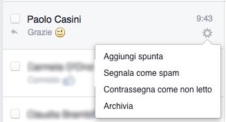 messaggi pagina facebook - menu utente