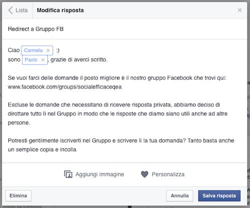 messaggi pagina facebook - modifica risposta salvata