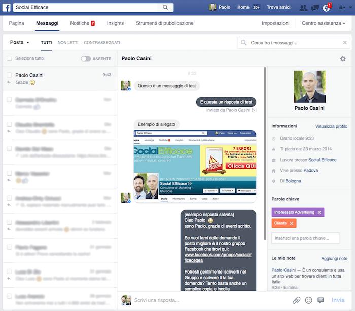messaggi pagina facebook - nuova schermata