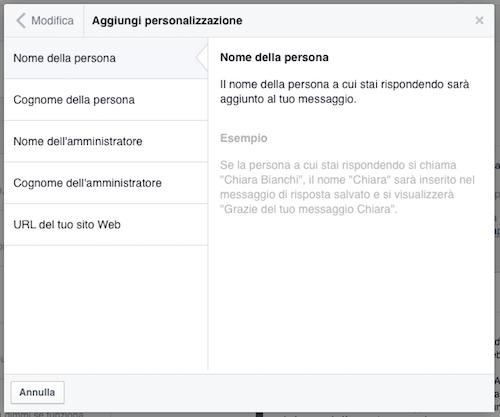 messaggi pagina facebook - personalizzazioni
