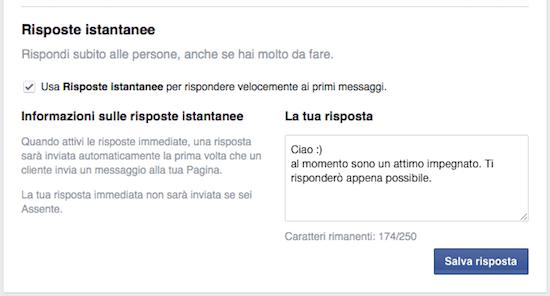 messaggi pagina facebook - risposte istantanee