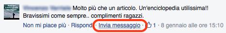 messaggi privati da pagina fb a persona che ha commentato