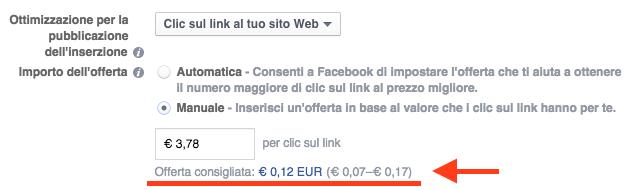stima spesa facebook ads - offerta consigliata impsotazione manuale