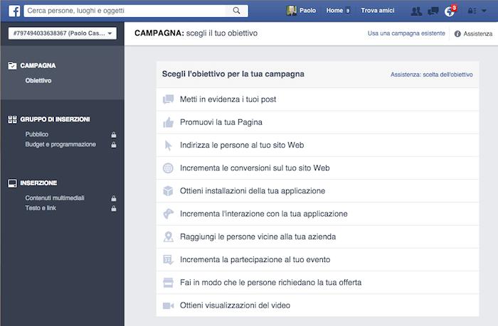 stima spesa facebook ads - strumento creazione inserzioni scelta obiettivo