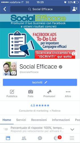 copertina pagina facebook - esempio mobile