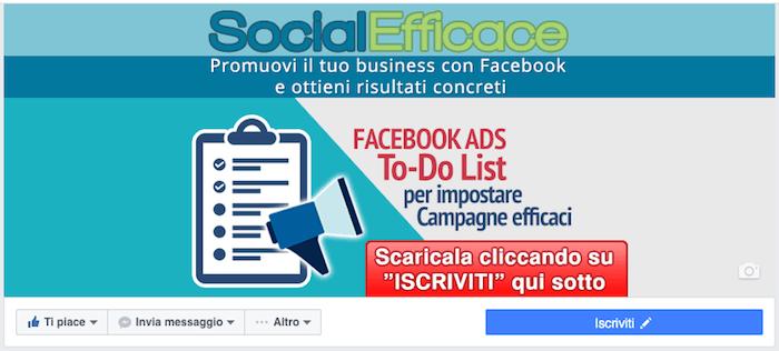 copertina pagina facebook - esempio pulsante cover social efficace