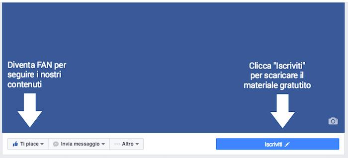 copertina pagina facebook - frecce e chiamate azione